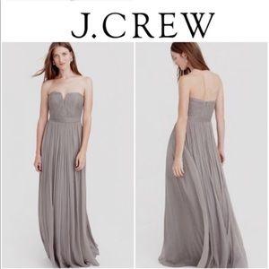 J.Crew Grey Silk Chiffon Nadia Bridesmaid